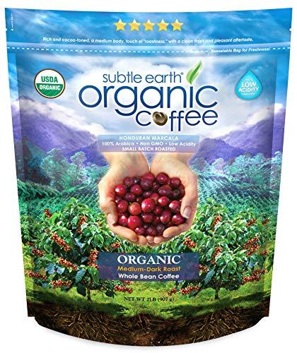 2LB Subtle Earth Organic Coffee - Medium-Dark Roast - Whole Bean - Organic Arabica Coffee - (2 lb) Bag
