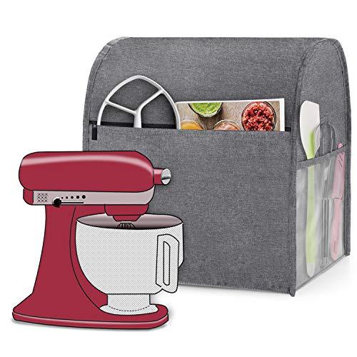 Luxja Housse pour Robot Pâtissier, Housse de Protection pour KitchenAid Robot Pâtissier et accessoires (Convient aux 4,3 Litre et de 4,8 Litre Batteurs sur Socle), Gris