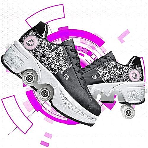 Patines Patines, patines de rodillos adulto multifuncional 4 ruedas deformación zapatos de rodillo invisible doble fila polea patines automáticos caminatas zapatos para niñas niños ( Color : 34 )