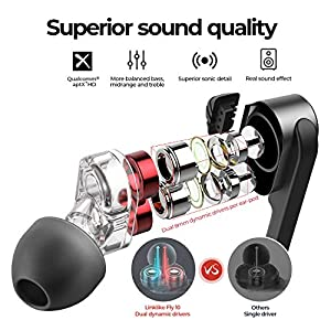 Linklike Upgraded Quad Drivers HiFi Stereo Sport Earphones w/Mic, 24H Playtime, Bluetooth 5.0 Wireless Headphones, IPX7 Waterproof, Ergonomic in-Ear, Noise Isolating Earbuds for Running, Workout, Gym