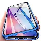 Yichxu Huawei P30 Lite Hülle Magnet, Magnetische Adsorption Handyhülle für Huawei P30 Lite, Einteiliges 360 Grad Gehärtetes Glas Schutzhülle Panzerglasfolie Durchsichtige Hülle Cover, Blau