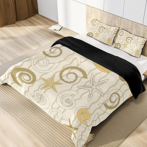 Set copripiumino per letto matrimoniale, motivo conchiglie dorate e stelle gialle, set di biancheria da letto decorativo in 3 pezzi, con federe per cuscini, traspirante, leggero, ipoallergenico.