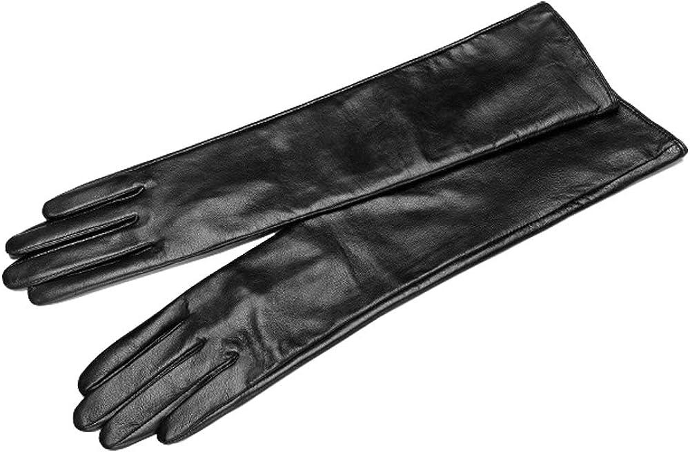 QECEPEI Womens Long Leather Gloves Winter Touchscreen Opera Evening Dress Driving Gloves
