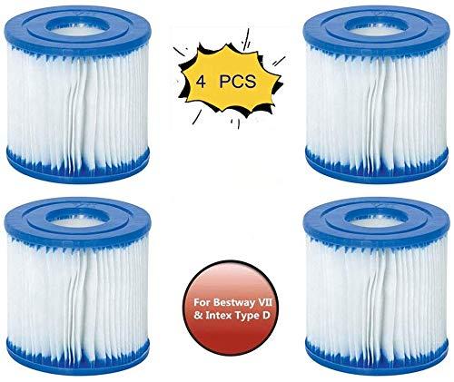 HHDL - Juego de 4 cartuchos de filtro Bestway tipo VII e Intex D, cartuchos de filtro, fácil de usar, filtro inflable para piscina