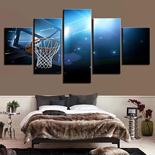 STDJ Impresiones sobre Lienzo 5 Piezas Basketball Sports Poster Cuadros En Modern Fashion Art Stretch Mural decoración del hogar Arte Cuadro en Lienzo