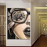 wopiaol Kein Rahmen Vintage Brille Mädchen Gesicht Poster