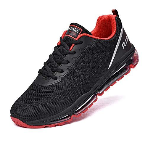 NewNaisu Sportschuhe Herren Damen Laufschuhe Unisex Turnschuhe Air Atmungsaktiv Running Schuhe mit Luftpolster Schwarz Rot 40