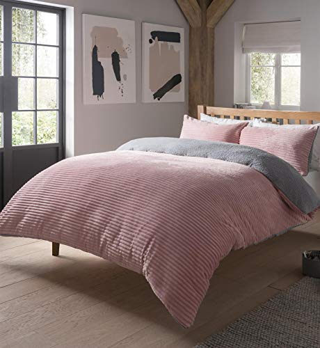 Olivia Rocco Teddy Duvet Cover Set Ribbed Fleece Reversible Super Soft Warm Winter Quilt Sets Bedding, King Blush Pink/Silver