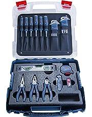 Bosch Professional hantverkarset med proffsverktyg (skruvmejslar, tänger, måttband, vattenpass, fällkniv, ytterligare 19 delar, i L-Case)