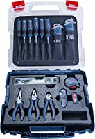 Bosch Professional hantverkarset med proffsverktyg (skruvmejslar, tänger, måttband, vattenpass, fällkniv, ytterligare 19...