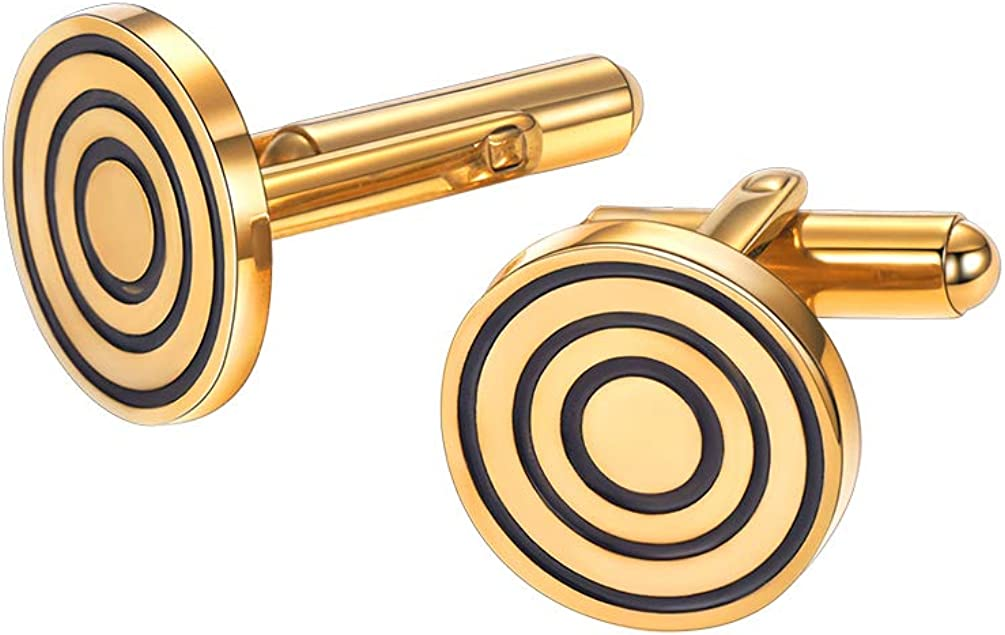 PROSTEEL Stainless Steel Cuff Links for Men Women, Black/18K Gold Plated, Groomsman Gift, Business Cufflinks, Come Gift Box