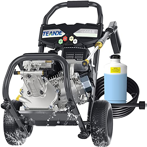 TEANDE 4220PSI Gas Pressure Washer 2.8GPM Power Washer Powered by 212CC, Outdoor Power Equipment with Soap Bottle, High Pressure Hose, 5 Nozzles