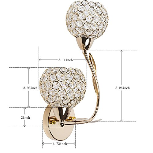 ATC Golden Double Head Creative Crystal Wall Lamp Suitable for Living Room Bedroom Bedside Corridor (Right)