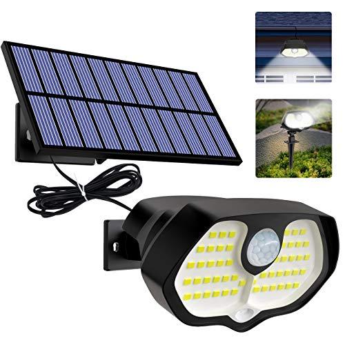 Btfarm Luz Solar Exterior, Solar Lámpara Separada, 60 LED 2 Luces Rojas Luces LED Solares para Exteriores, Humano/Sensor de Luz Luces Impermeables Brillantes Uso en Jardines, Cercas, Escaleras, Patios