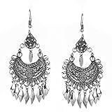 Moda indiano Gioielli Etnico Metallo Nappa Orecchini Per le Donne Bohemien Vintage a Forma di Luna Orecchino Goccia Gioielli Bijoux-E021258D-