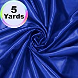 Charmeuse Satin Fabric | 5 Yards Continuous | 60' Wide | Silky, Bridal | Decoration, Fashion Crafts (Royal Blue, 5 Yd)