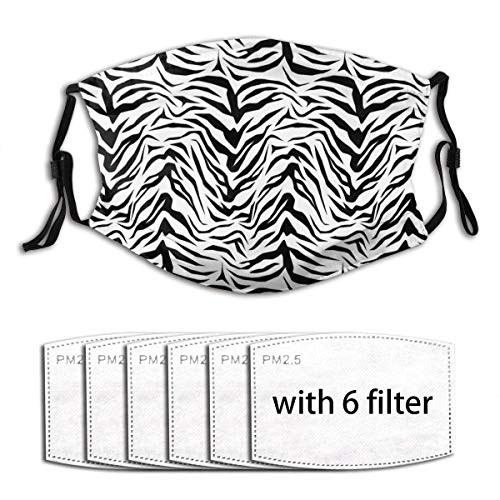 White Black Tiger Zebra Stripe Print Pattern Funny Unisex Windproof and Dustproof Mouth Mask with Adjustable Elastic Strap Face Cover