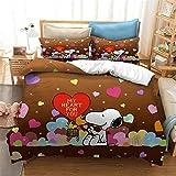 GDGM Snoopy Bettwäsche Für Kinder,bettwäsche 3teilig,Bettbezug + Kissenbezüge,bettwäsche Kinder,Baumwolle/Renforcé,3D Bettwäsche Mädchen Jungen (A03,155x220cm)