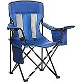 Amazonベーシック アウトドアチェア 折りたたみ キャンプ バッグ付属86 x 51 x 91cm ブルー 背もたれメッシュ入り