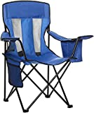 AmazonBasics Mesh Folding Outdoor Camping Chair With Bag - 34 x 20 x 36 Inches, Blue