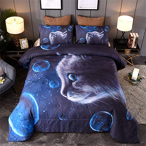 A Nice Night Multicolor Blue Bubbles Galaxy Cats Printed for Boys and Girls Quilt Comforter product image
