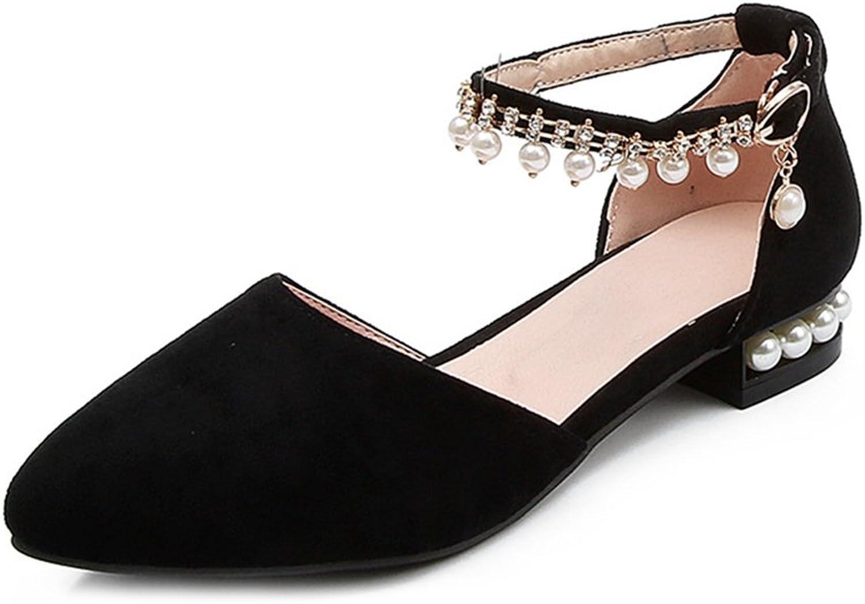 GIY Women's Pearl Fringe Flat Sandals Pointed Close Toe Comfort Low Heel Bohemian Summer Dress Sandals
