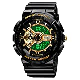Mens Digital Sports Watch Large Face Sports Outdoor Waterproof Military Chronograph Wrist Watches for Men with Date Multifunction Tactics LED Army Stopwatch Gold