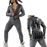 Butt Flap Onesie Mens Sexy One Piece Pajamas Novelty Jumpsuit Mens Hooded Bodysuit Button Butt Romper(Dark Grey,L)