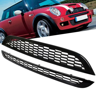 Front Upper & Lower Mesh Grill Compatible with 2002-2006 Mini Cooper