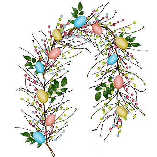 besttoyhome 6' Long Artificial Easter Egg and Mixed Berry Garland Hanging Rustic Spring Garland Pastel Easter Garland Vine String for Easter Springtime Seasonal Decoration Wreath Making