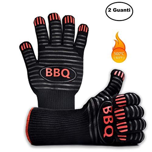 Ponderato Guanti Barbecue Resistenti al Calore al Fuoco e alle Alte Temperature, Professionali, Accessori BBQ Ingnifughi per Griglia, Camino, Forno Pizza e Cucina (1 Paio)