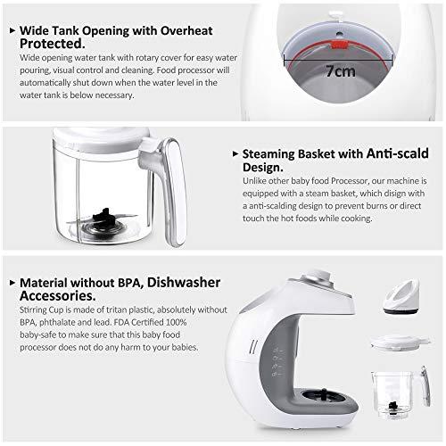Babynahrungszubereiter KYG BFP-1800MT 5 in 1 Dampfgarer und Mixer für Babynahrung mit Dampfgaren Mixen Erwärmen Auftauen und Sterilisieren 220-240 V Baby Küchenmaschine (weiß) - 6