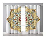 Goods247 Blackout Curtains,Grommets Panels Printed Curtains Living Room (Set of 2 Panels,55 63 Inch Length),Gold Mandala