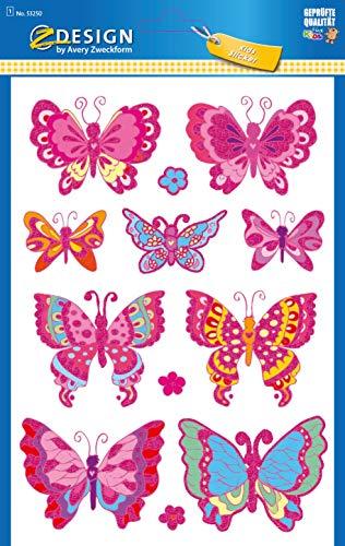 AVERY Zweckform Kinder Sticker 12 Aufkleber (extra groß, Schmetterlinge, mit Glitter, für Kinder zum Aufkleben, Kindergeburtstag, Mitgebsel, Gastgeschenke, Spiele, Schatzsuche) Art. 53250