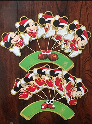Christmas Mickey Mouse Claus Minnie Holiday Cupcake Toppers and wrappers set of 24