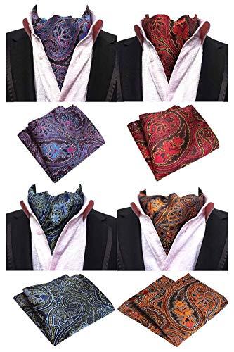 MOHSLEE Exquisite 4 Pack Men's Cravat Floral Ascot Scarf Tie & Pocket Square Set