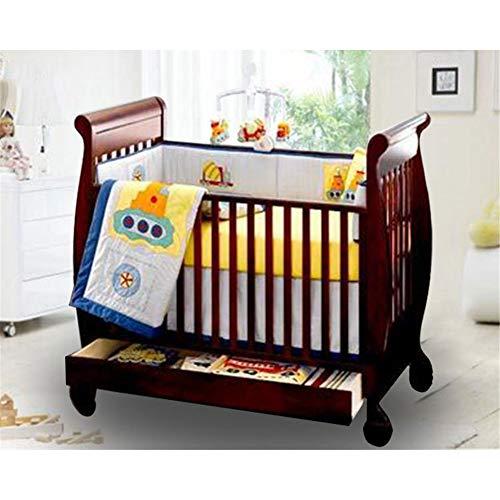 WDXIN Cunas Tipo Gemelo, Altura Ajustable con barandilla pequeña Cama de bebé Europea de Madera Maciza Adecuado para bebé de 0-7 años,B
