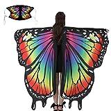 EDOTON Schmetterlingsflügel für Frauen, Nymphe Pixie Kostüm Zubehör Schals Party Cosplay Tanzkostüm (E_Regenbogen)