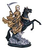 12 Inch Gold Santa Muerte Saint Death Grim Reaper Riding Horse Statue