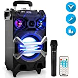 Pyle 500 Watt Outdoor Portable BT Connectivity Karaoke Speaker System - PA Stereo with 8' Subwoofer, DJ Lights Rechargeable Battery Microphone, Recording Ability, MP3/USB/SD/FM Radio - PWMA325BT