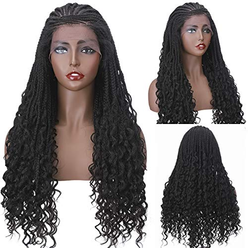 S-noilite Braided Wigs Twist Box Braided Wigs for Black Women Crochet Cornrow Braided Wig Afro Curly Curls Ends Synthetic 5x13' Swiss Lace Front with Baby Hair 26'(#Natural Black)