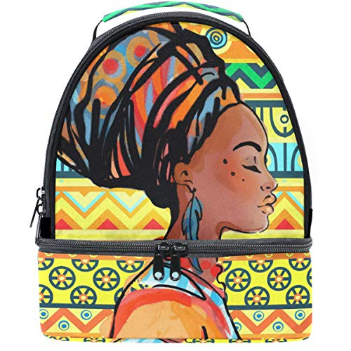 Naanle Double Decker Insulated Lunch Box Bag Ethnic Style African Woman With Earring Waterproof Leakproof Cooler Thermal Tote Bag Large for Men Women Youth
