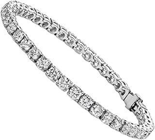 Fabulous Silver Tennis Bracelet with CZ Crystals, Beautiful 18k White Gold Plated Wrist Bracelet with Round Cut Cubic Zirconia Stones