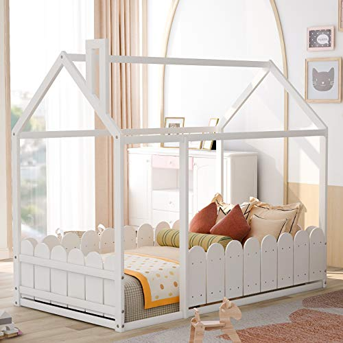 House Bed Twin Size Kids Bed Frame with Roof and Fence, Box Spring Needed (White)