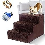 MASTERTOP Escalera para mascotas de 3 peldaños para perros y gatos, ligera para mascotas de 15 kg, superficie de rodadura portátil, extraíble y lavable, con guantes para mascotas