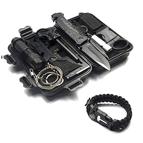 SGAONSN Survival Kit, Professionelle Taktische Ausrüstung Notfall Überleben swerkzeuge für Abenteuer im Freien, mit Klappmesser, Survival Armband und weiterem Zubehör