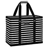 SCOUT 3 Girls Bag, Extra Large Beach Bag with Zipper, Pockets, and Comfort Grip Handles, Lightweight, Water-Resistant Utility Tote Bag in Fleetwood Black Pattern (Multiple Patterns Available)
