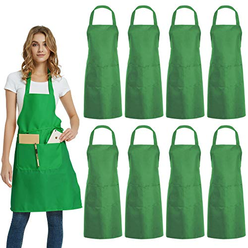 DUSKCOVE 8 Pack Bib Aprons Bulk - Unisex Green Commercial Apron with 2 Pockets for Kitchen Crafting BBQ Drawing Cooking