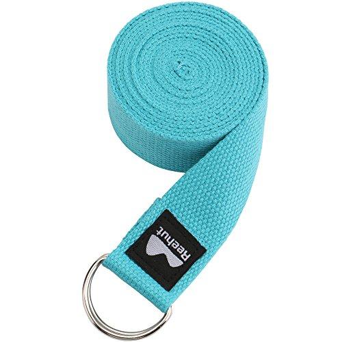 REEHUT Correa para Yoga - Cinturón con Hebilla Metal D-Anillos de Poliéster Algodón Resistente para Ejercicios de Estiramiento, Fitness, Pilates y Flexibilidad (Azul Claro,2.4m,8ft) 🔥