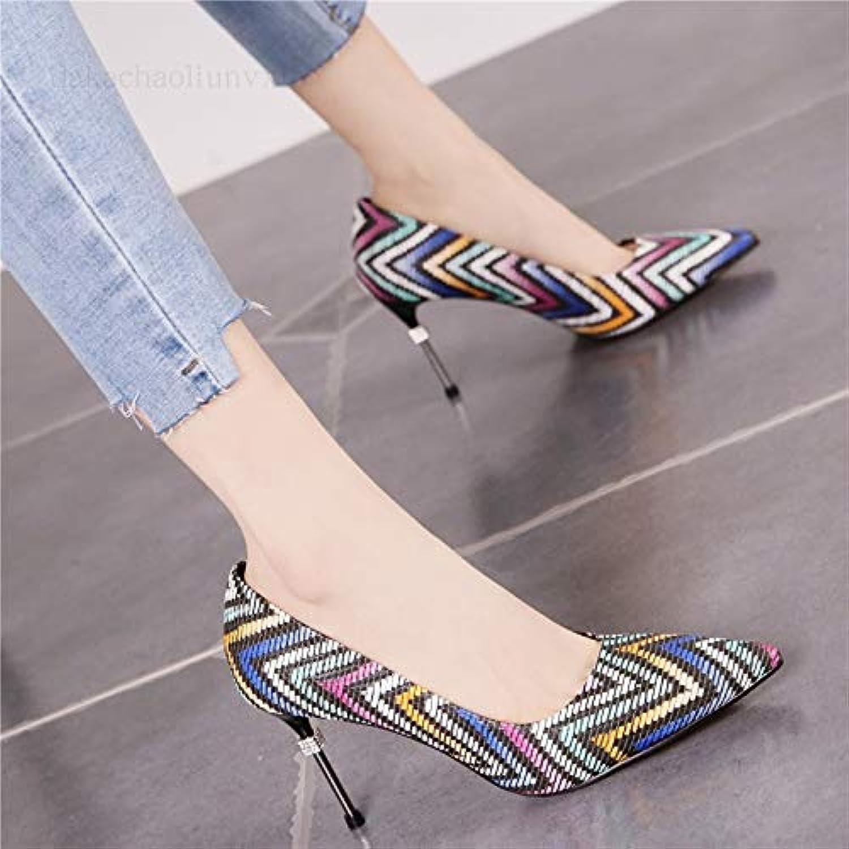 HRCxue Pumps Vintage gewebte Temperament ethnischen Stil Stiletto Stiletto Stiletto Heels flachen Mund zeigte Mode einzelne Schuhe Frauen  b08d6a